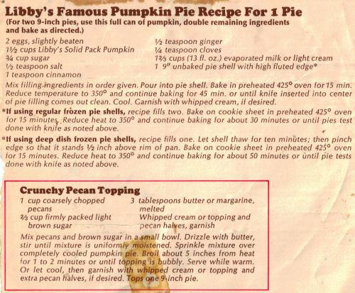 Libbys Pumpkin Pie Recipe  Libby's Famous Pumpkin Pie Recipe For 1 Pie RecipeCurio
