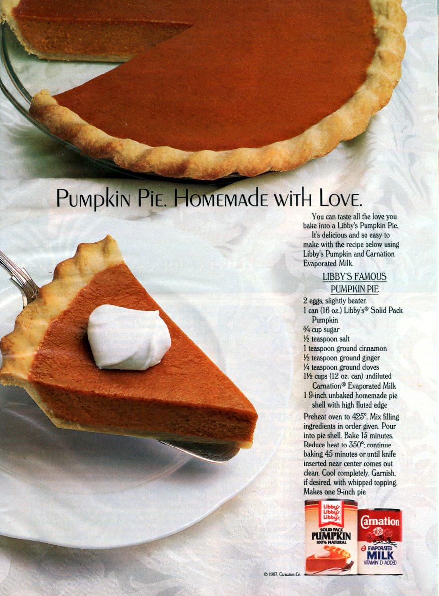 Libbys Pumpkin Pie Recipe  Libby s famous pumpkin pie recipe 1987 Americana