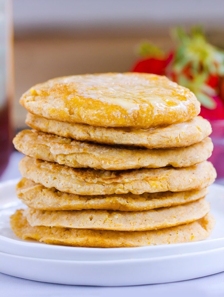 Light And Fluffy Pancakes  Fluffy Cornbread Pancakes – Oil Free Gluten Free Vegan