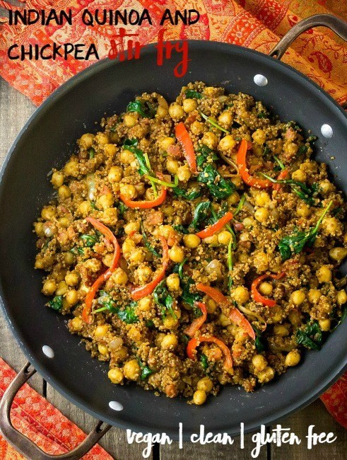 Light Dinner Recipes Vegetarian Indian  Indian Quinoa and Chickpea Stir Fry