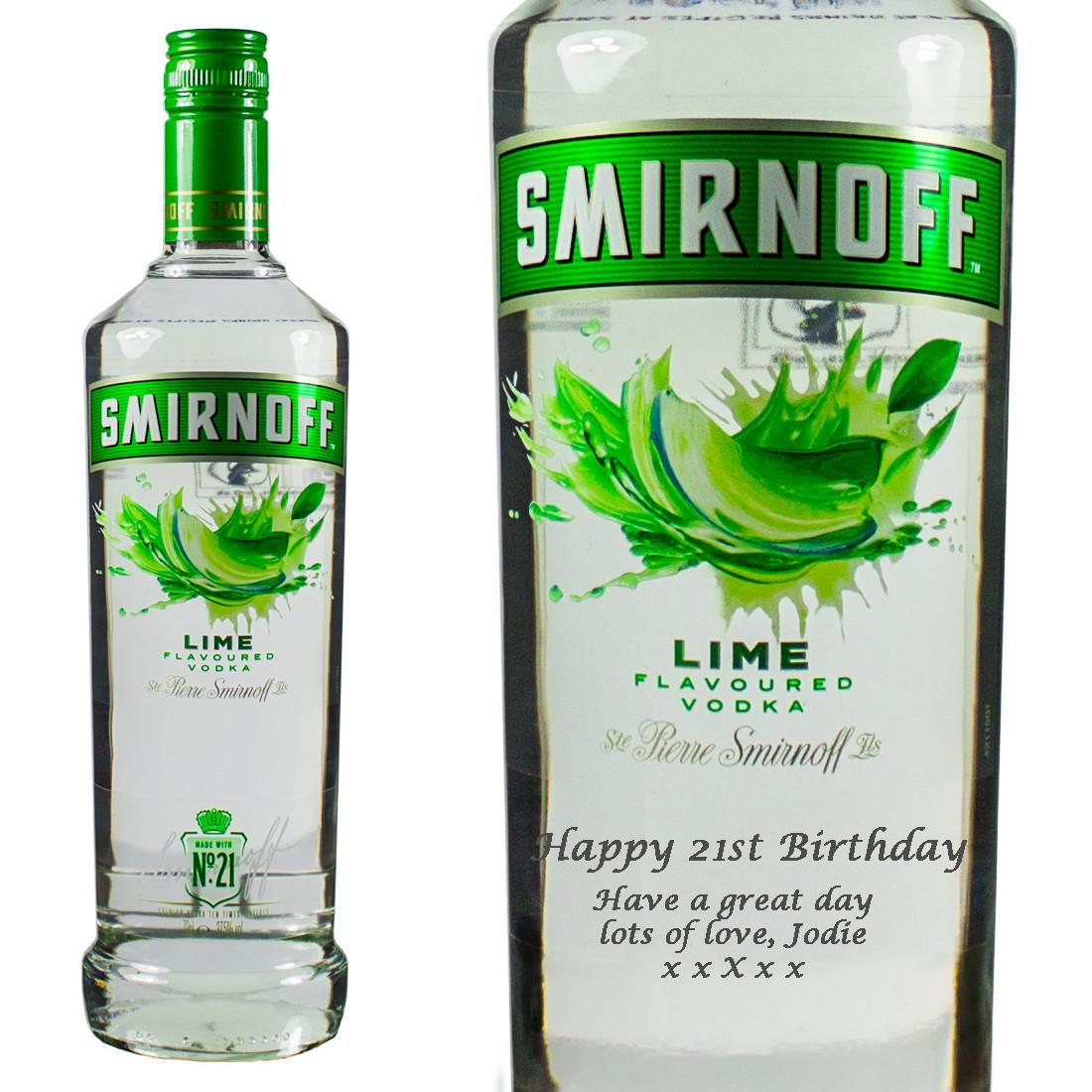 Lime Vodka Drinks  Personalised Smirnoff Lime Vodka 70cl at Prestige Drinks