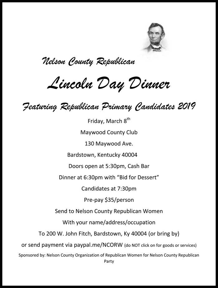 Lincoln Day Dinner  Nelson County Lincoln Day Dinner Kentucky Federation of