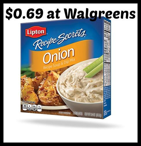 Lipton Onion Soup Mix  Walgreens Lipton ion Soup & Dip Mix only $0 69