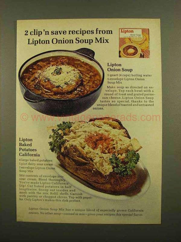 Lipton Onion Soup Potatoes  1965 Lipton ion Soup Ad Baked Potatoes California
