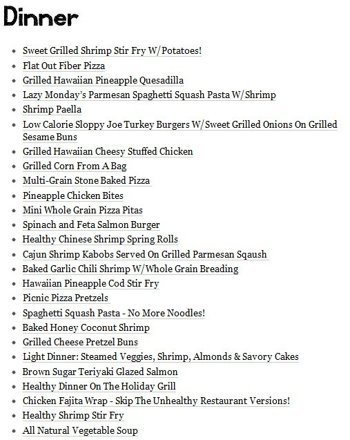List Of Dinner Ideas  Healthy Dinner Menu For Eating & Drinking