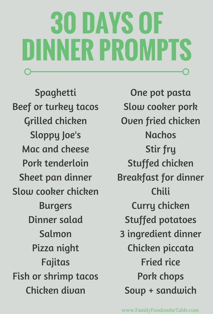 List Of Dinner Ideas  30 easy healthy family dinner ideas Family Food on the Table