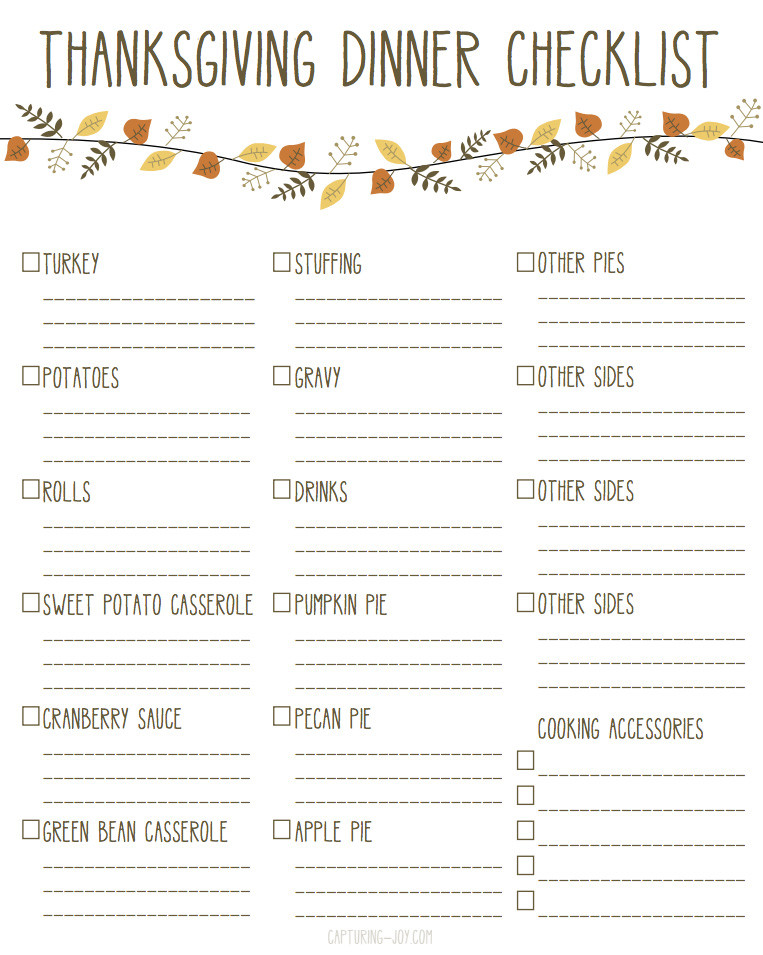 List Of Dinner Ideas  Printable Thanksgiving Dinner Checklist and Recipes