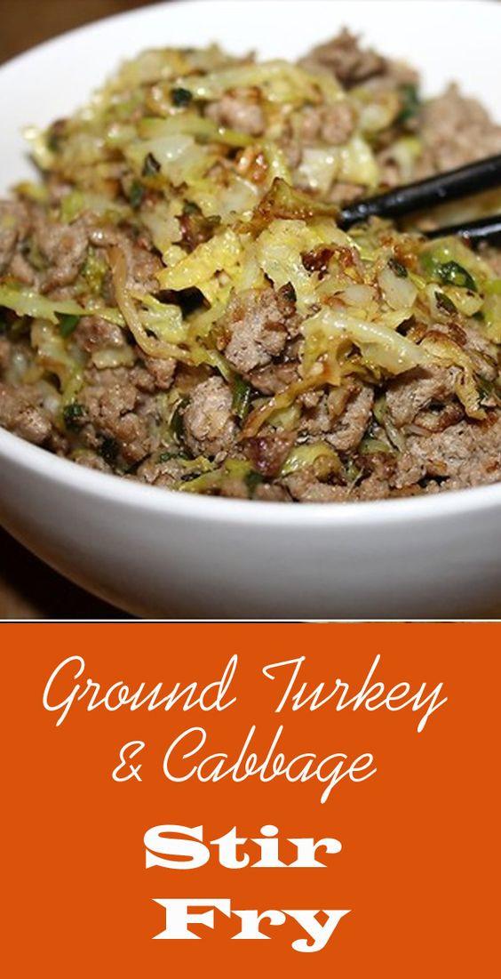 Low Calorie Ground Turkey Recipes  Ground Turkey & Cabbage Stir Fry Recipe