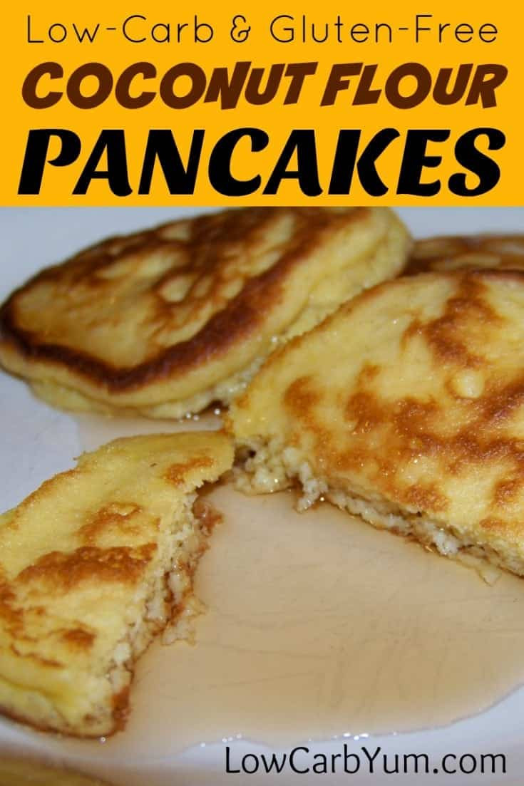 Low Carb Coconut Flour Pancakes  low carb gluten free coconut flour pancakes recipe cover