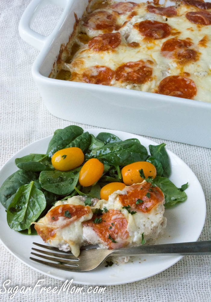 Low Carb Dinner  Easy Low Carb Cheesy Pizza Chicken Bake