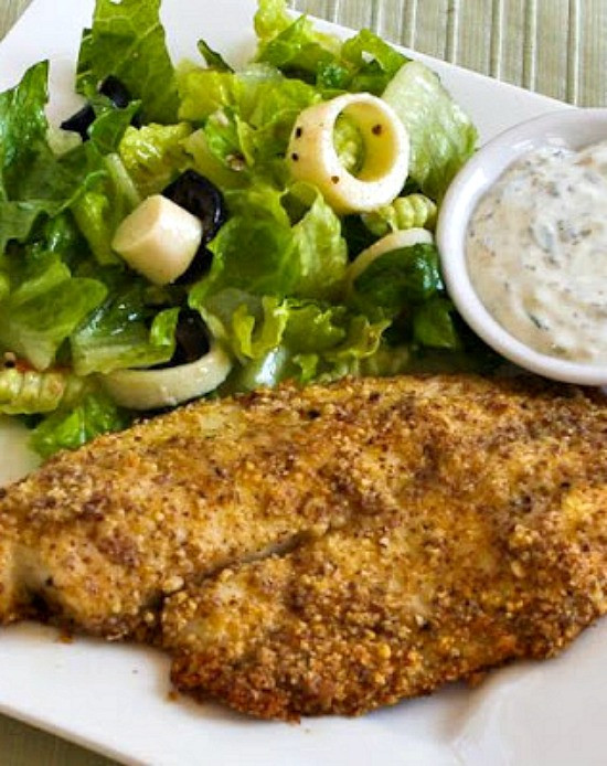 Low Carb Fish Recipes  Kalyn s Kitchen Low Carb Almond and Parmesan Baked Fish