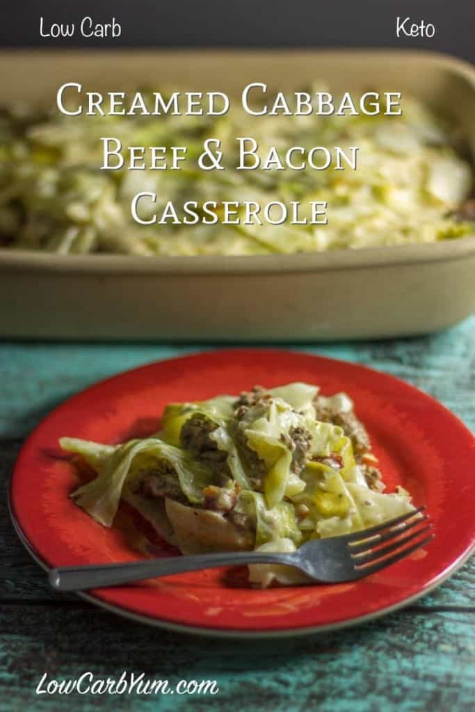 Low Carb Ground Beef Recipes Cream Cheese  Creamed Cabbage & Ground Beef Casserole