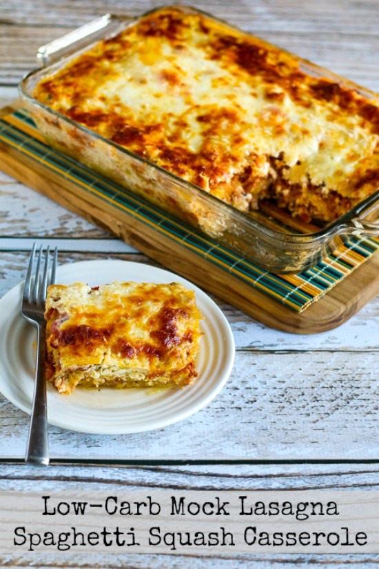 Low Carb Spaghetti Squash Recipes  Low Carb Mock Lasagna Spaghetti Squash Casserole Kalyn s