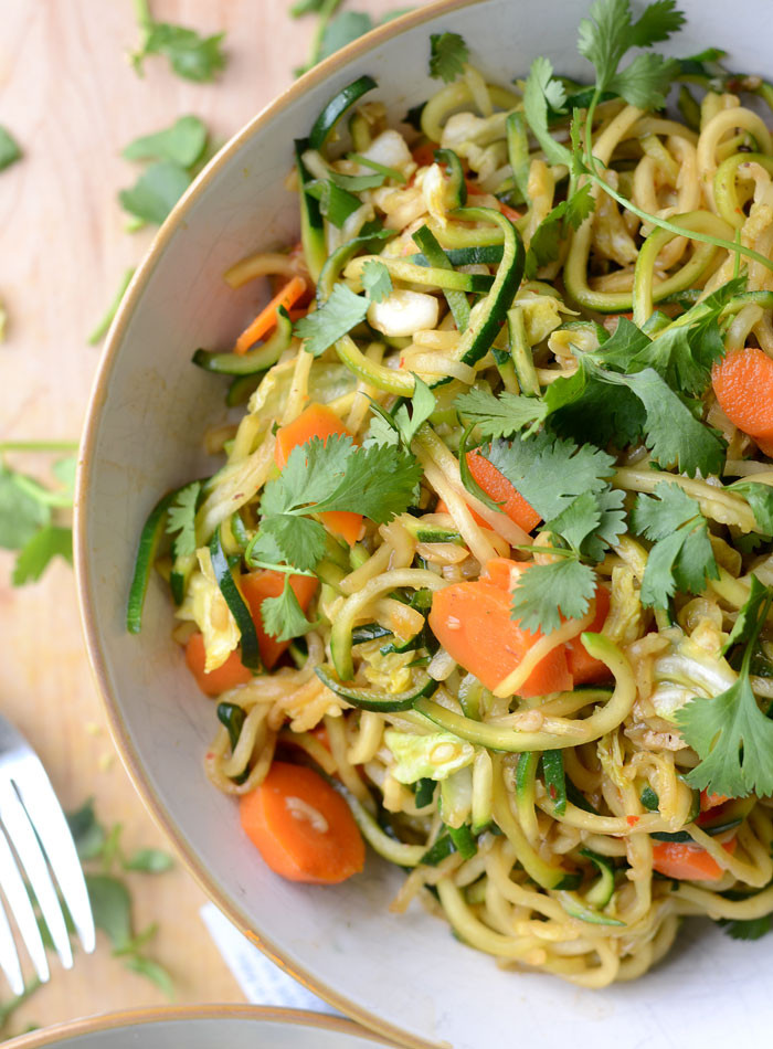 Low Carb Vegetarian Dinner  Zucchini Noodle Low Carb Vegan Chow Mein Quick & Easy