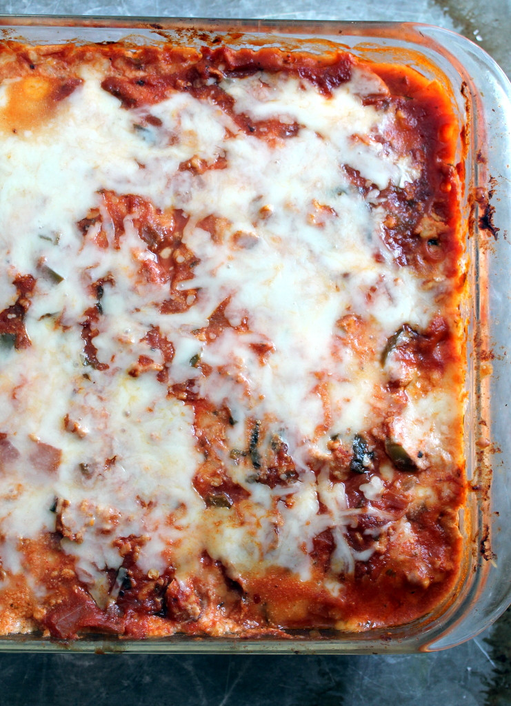 Low Carb Zucchini Lasagna  Low Carb Zucchini Lasagna with Spicy Turkey Meat Sauce