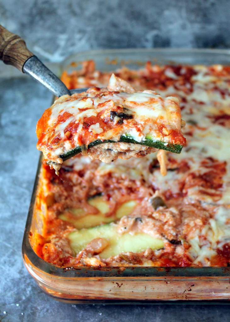 Low Carb Zucchini Recipes  Low Carb Zucchini Lasagna with Spicy Turkey Meat Sauce