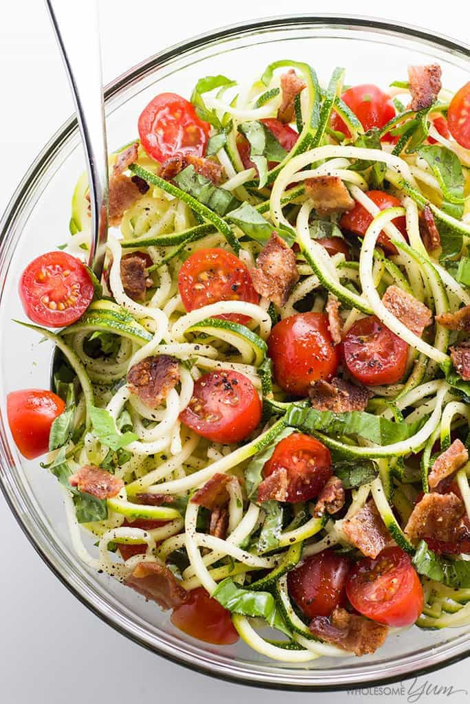 Low Carb Zucchini Recipes  Zucchini Noodle Salad Recipe with Bacon & Tomatoes Low
