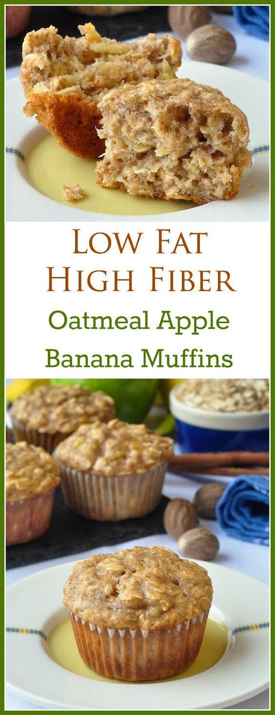 Low Cholesterol Breakfast Recipes  Low Fat Oatmeal Banana Apple Breakfast Muffins