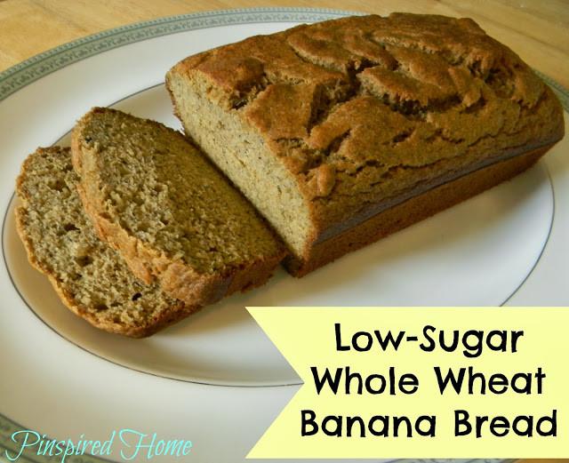 Low Sugar Banana Bread  Pinspired Home Low Sugar Whole Wheat Banana Bread