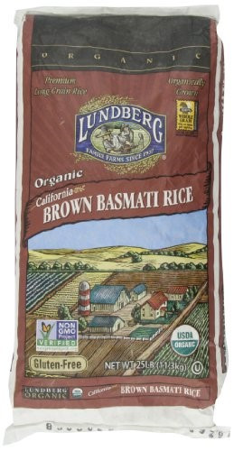 Lundberg Brown Rice  Lundberg Organic California Brown Basmati Rice 25 Pound
