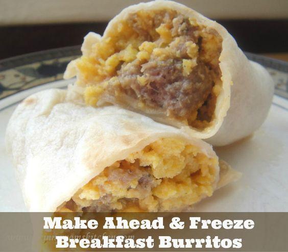 Make Ahead Breakfast Burritos  Breakfast burritos Burritos and Freezers on Pinterest