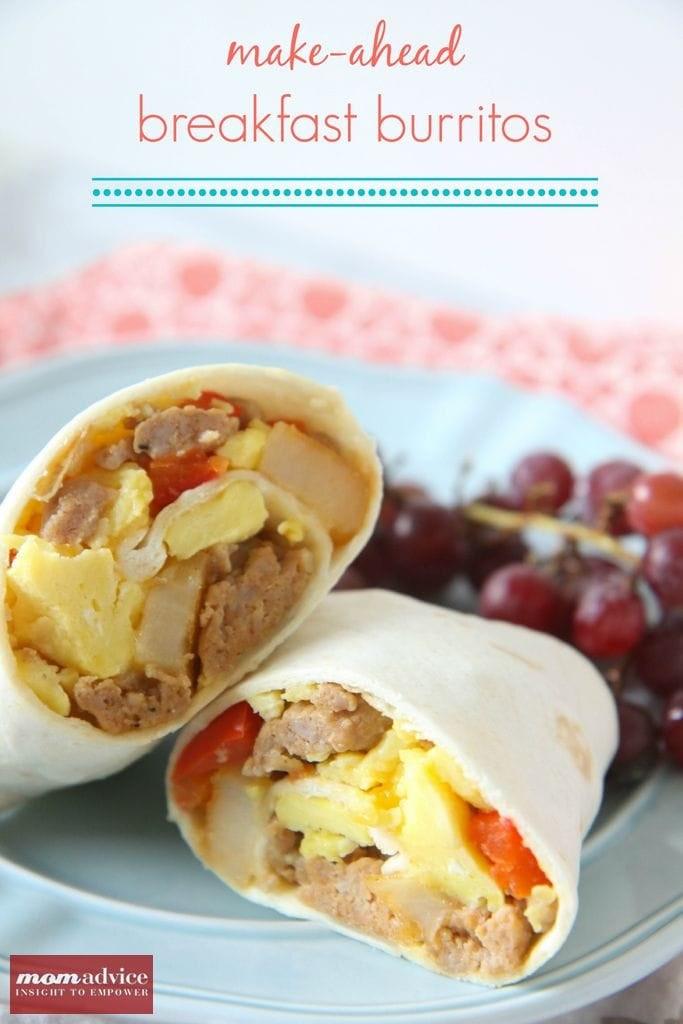 Make Ahead Breakfast Burritos  Make Ahead Breakfast Burritos MomAdvice