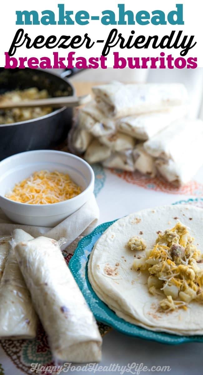 Make Ahead Breakfast Burritos  Make Ahead Freezer Friendly Breakfast Burritos Happy