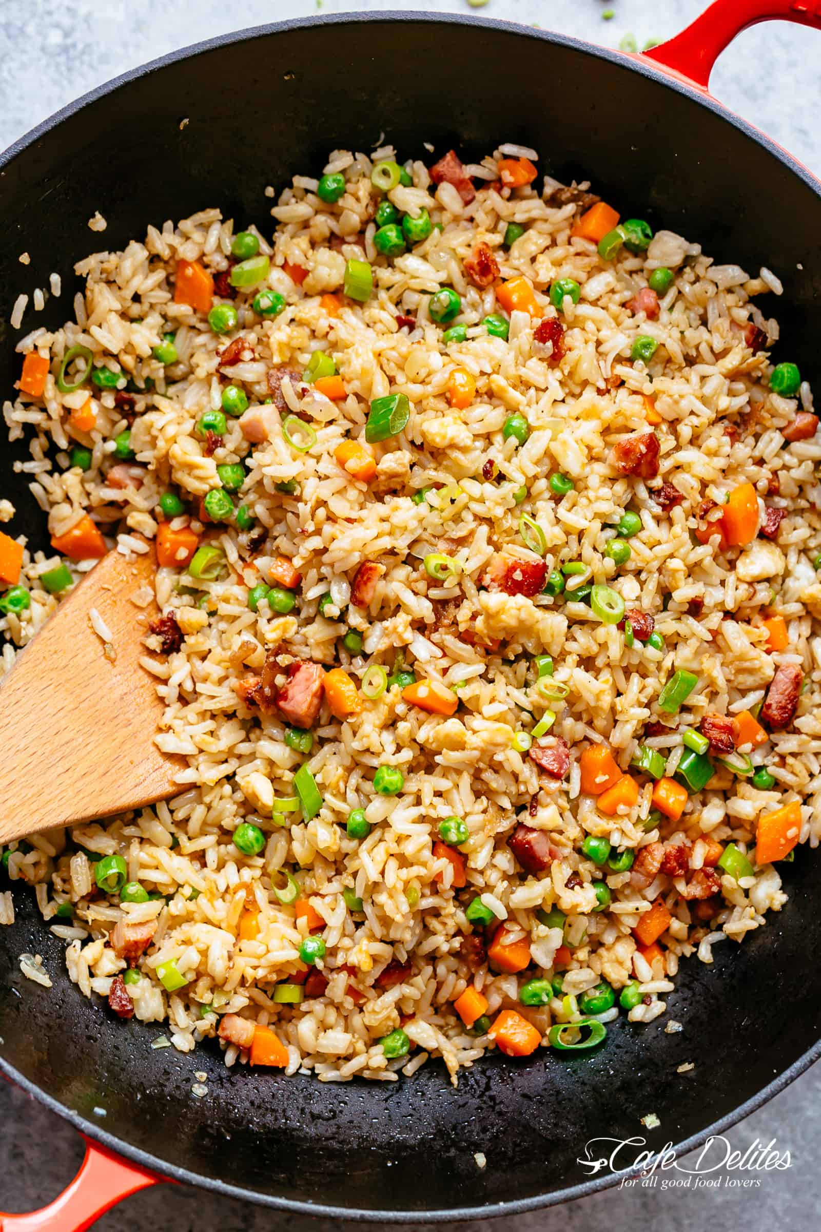 Making Fried Rice  Fried Rice with Bacon Cafe Delites