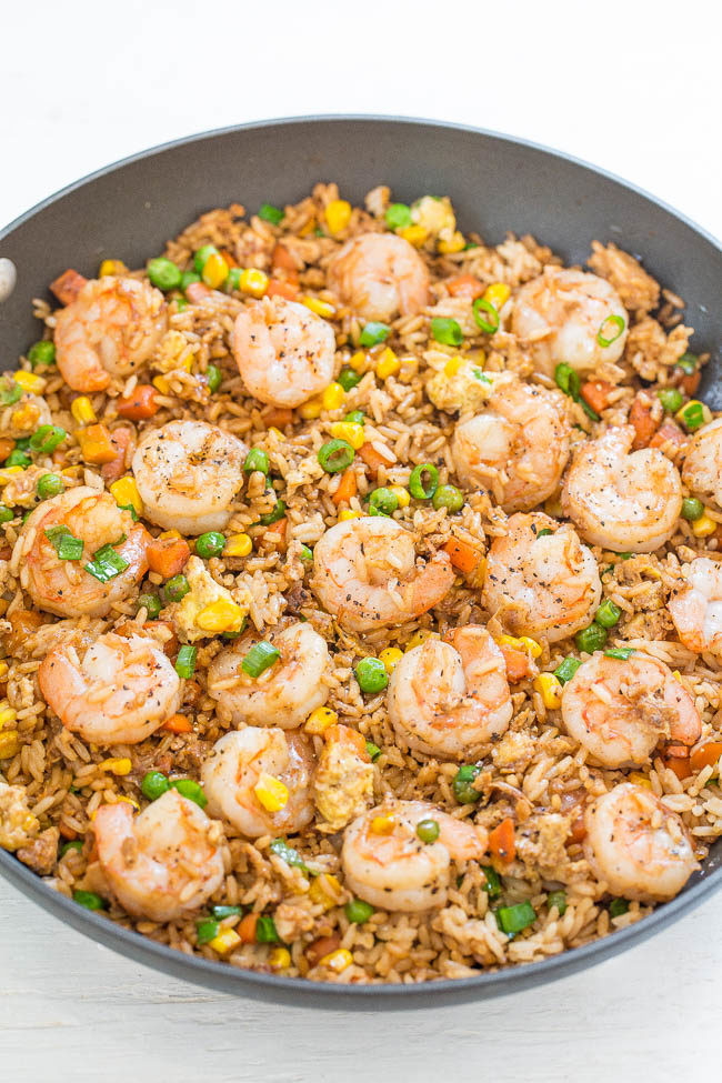 Making Fried Rice  Easy Better Than Takeout Shrimp Fried Rice Averie Cooks