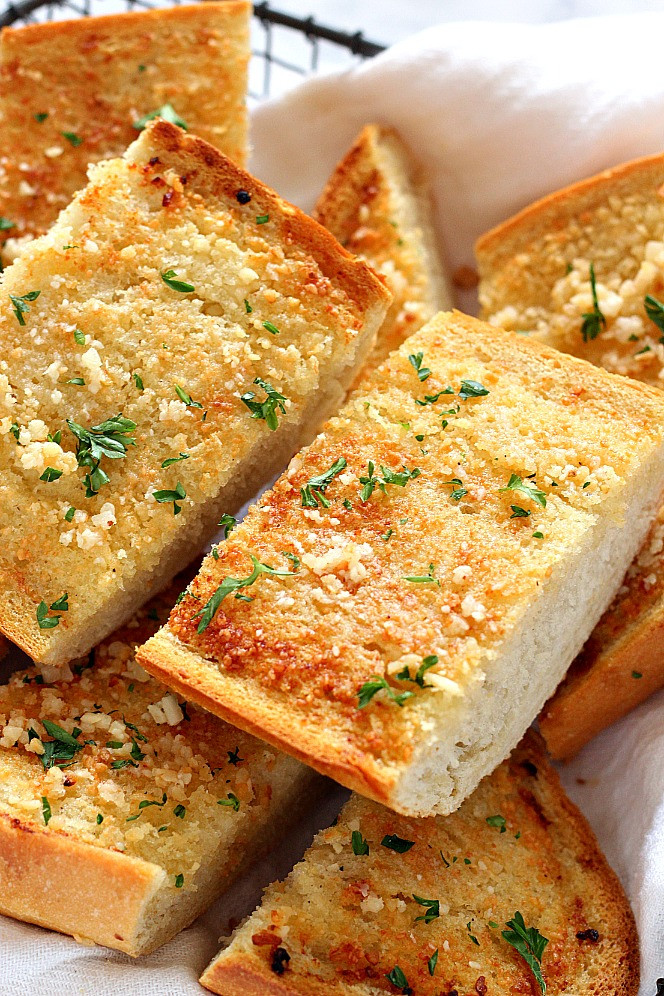 Making Garlic Bread  Easy Garlic Bread Recipe Crunchy Creamy Sweet