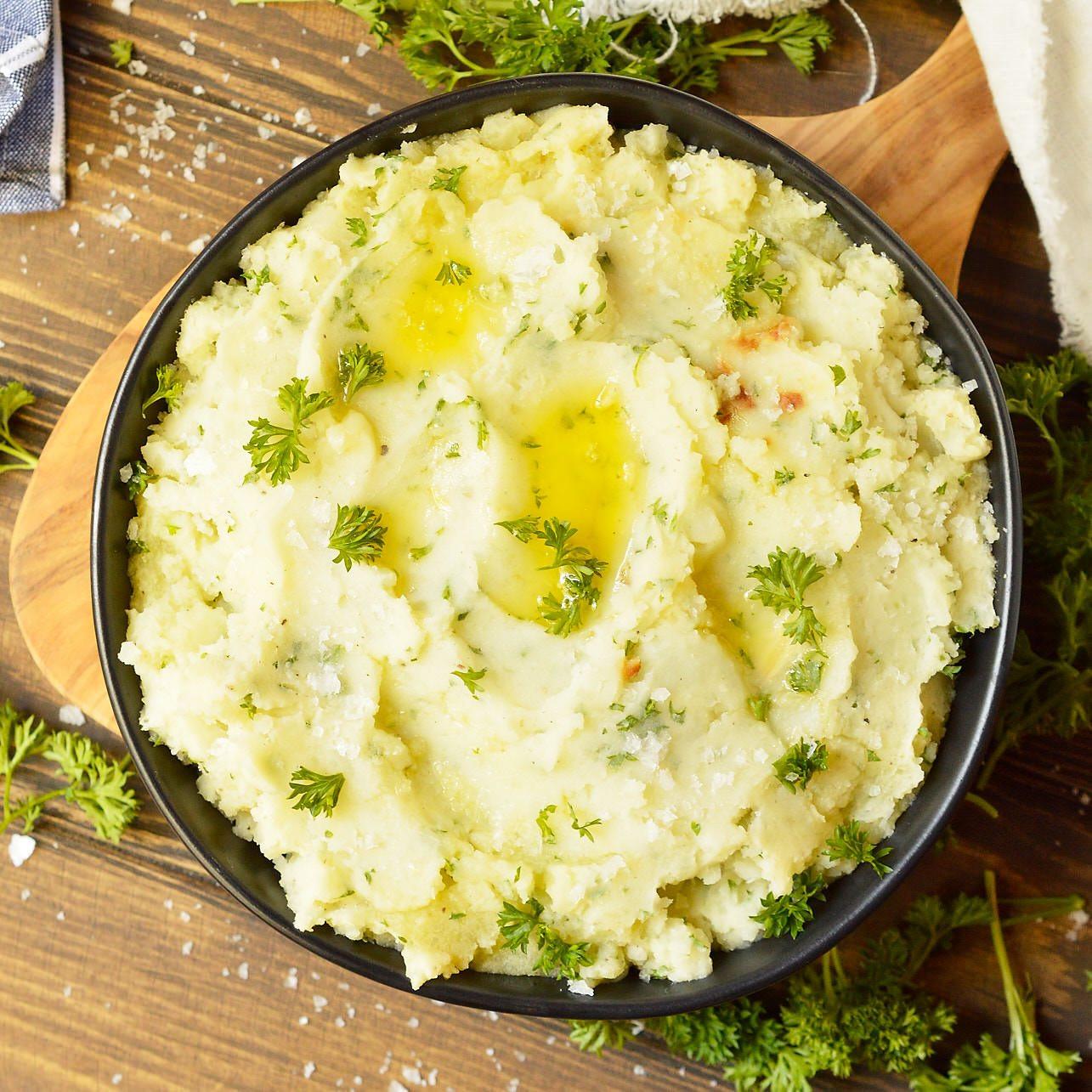 Making Mashed Potatoes  Dairy Free Garlic Mashed Potatoes Whole30 Vegan Option