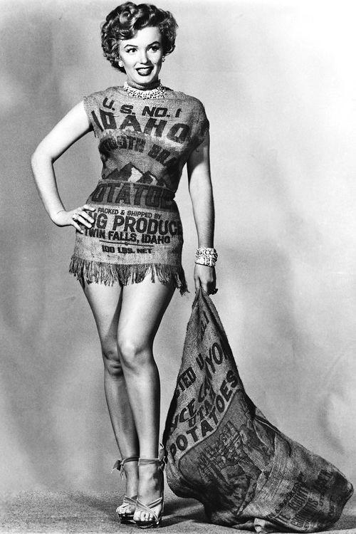 Marilyn Monroe Potato Sack  Marilyn Monroe wearing a potato sack