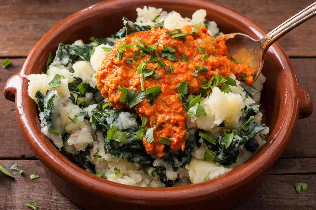 Mashed Potatoes In Spanish  Kale and Potato Mash with Romesco Sauce Recipe Chowhound