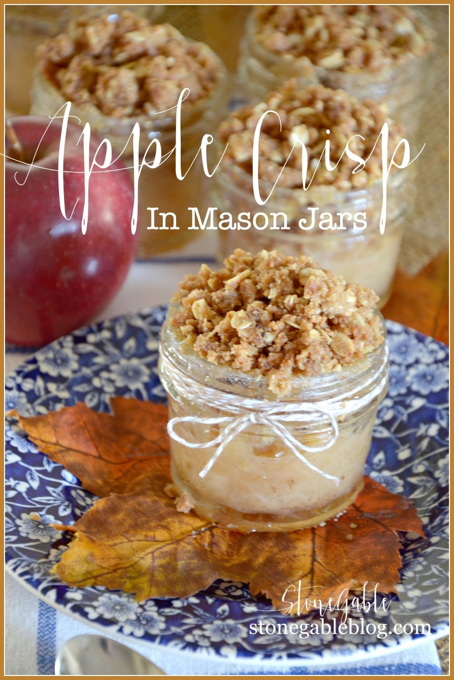 Mason Jar Dessert Recipes  APPLE CRISP IN A MASON JARS StoneGable