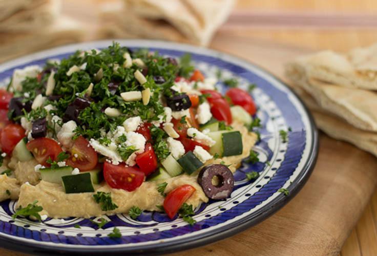 Mediterranean Dinner Recipe  Mediterranean 7 Layer Dip and Sabra Hummus Giveaway