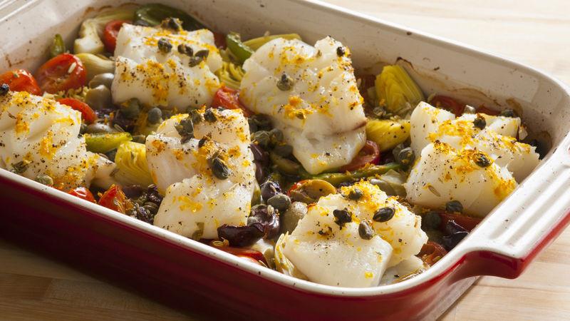 Mediterranean Dinner Recipe  e Pan Mediterranean Roasted Fish Dinner recipe from