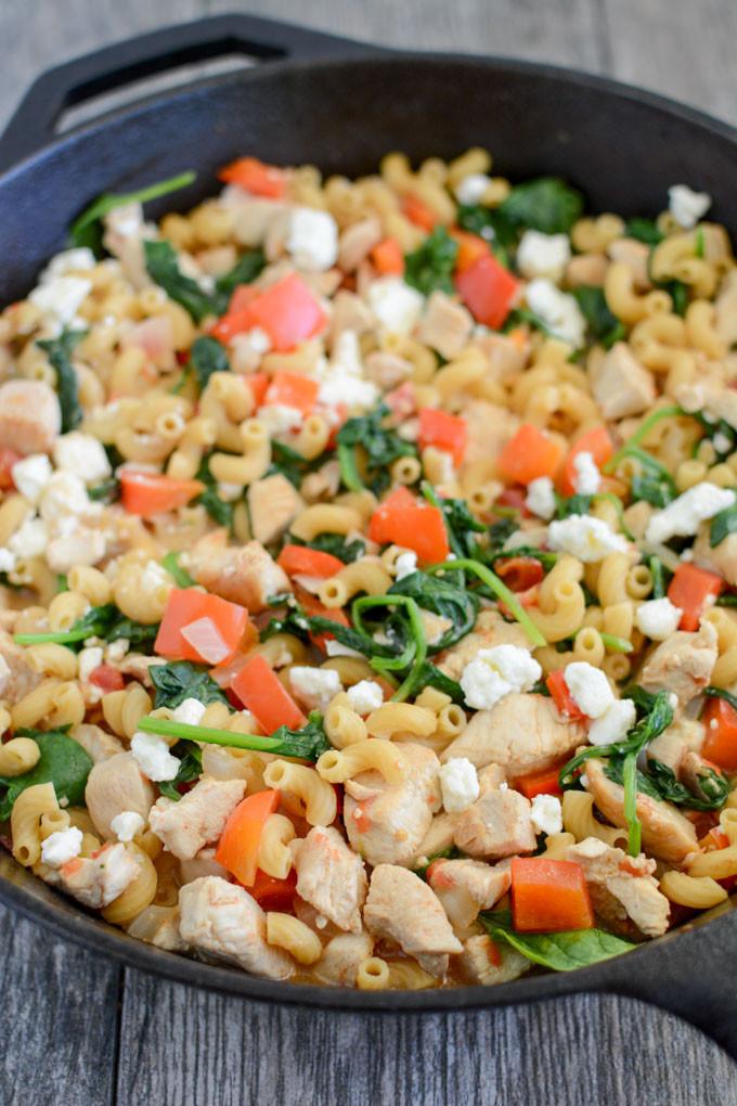 Mediterranean Dinner Recipe  Skillet Mediterranean Chicken Pasta