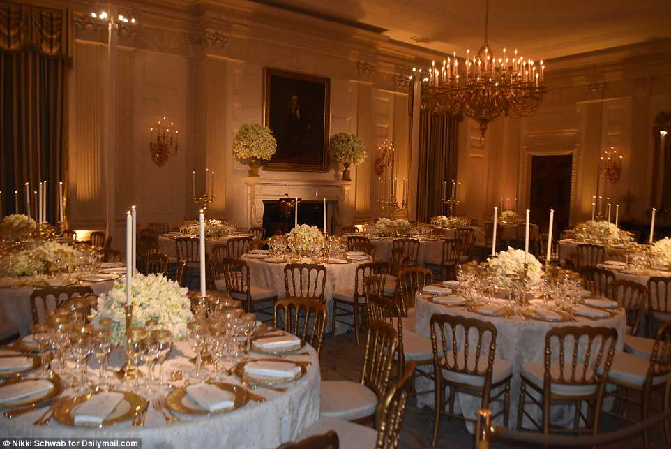 Melania Trump State Dinner  Golden Girl Melania Trump s place settings for first