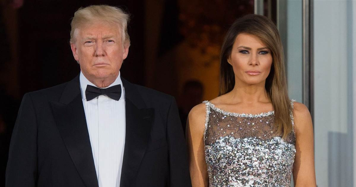 Melania Trump State Dinner  Melania Trump wears Chanel dress at state dinner with France