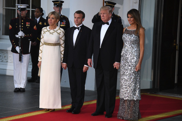 Melania Trump State Dinner  Mon Dieu Melania Radiates In Silver Gown At First WH