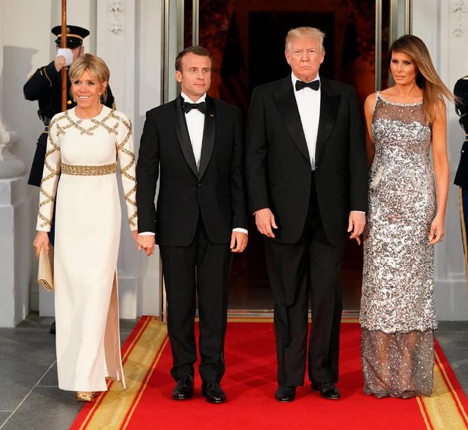 Melania Trump State Dinner  Melania Trump's State Dinner Dress Sparkles in Silver
