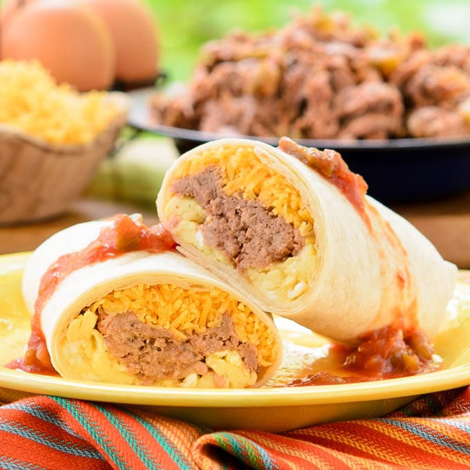 Mexican Breakfast Burritos  Mexican Shredded Beef Breakfast Burritos