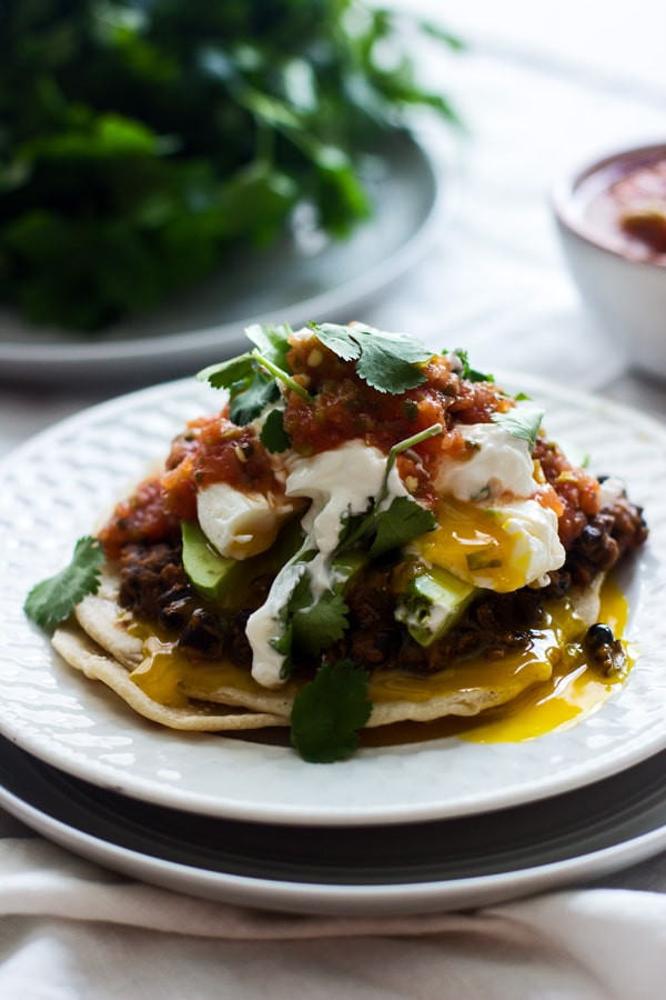 Mexican Breakfast Eggs  Mexican Breakfast Tostadas with Chorizo Re fried Beans