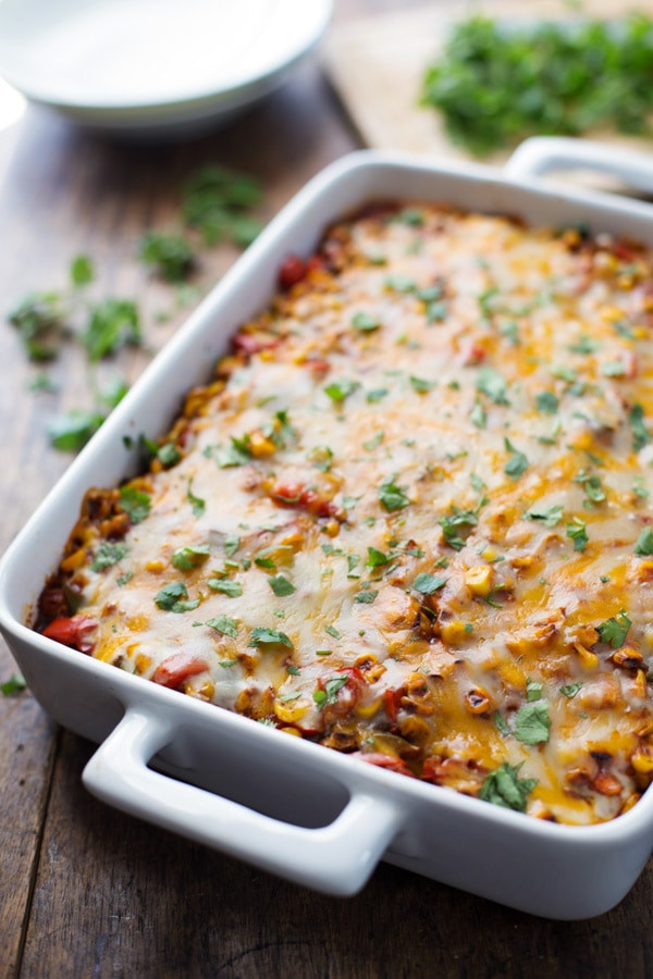 Mexican Casserole With Corn Tortillas  Healthy Mexican Casserole with Roasted Corn and Peppers