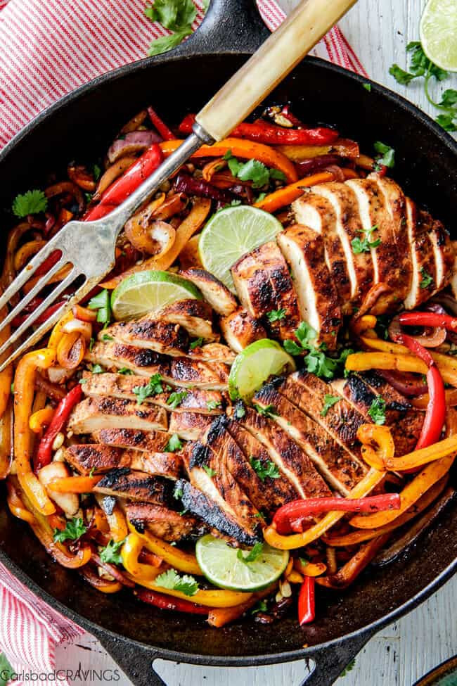 Mexican Chicken Fajita Recipes  The BEST Chicken Fajitas with Chipotle Lime Crema