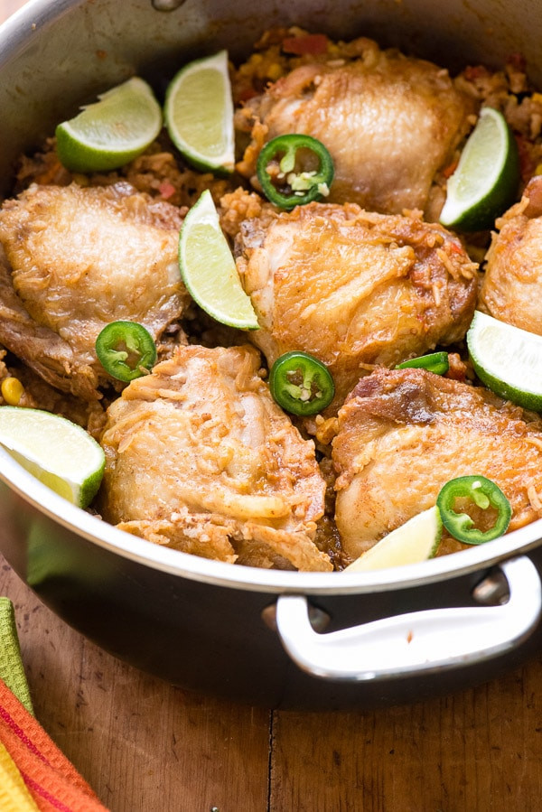 Mexican Chicken Thighs  Mexican Chicken and Rice Skillet