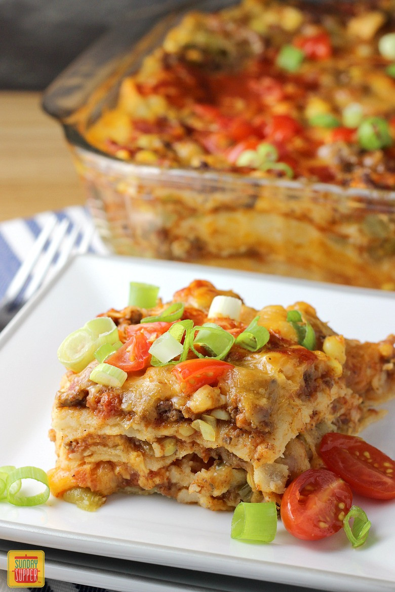 Mexican Lasagna With Tortillas  Dinner Ideas Using Ground Beef SundaySupper