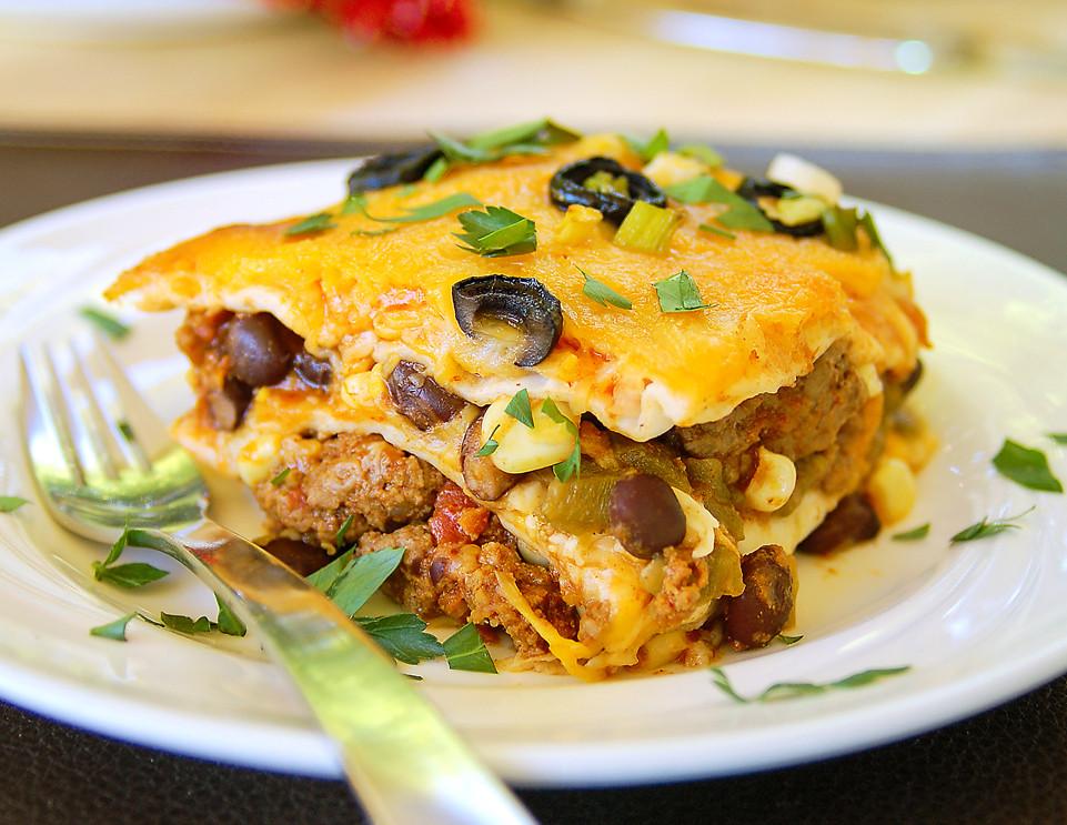 Mexican Lasagna With Tortillas  mexican lasagna with tortillas and beef