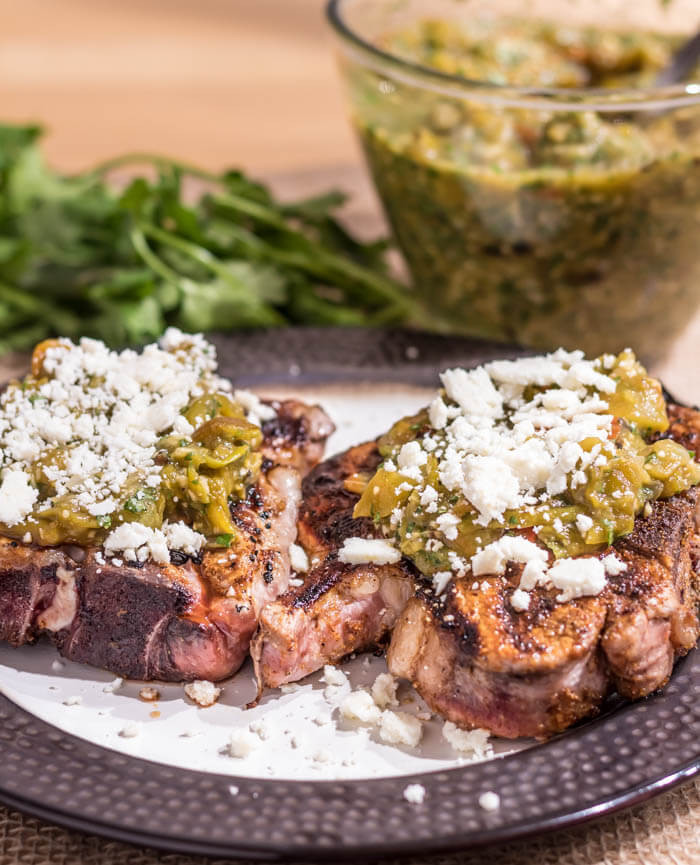 Mexican Pork Chops  Mexican Spiced Pork Chops With Salsa Verde and Cotija