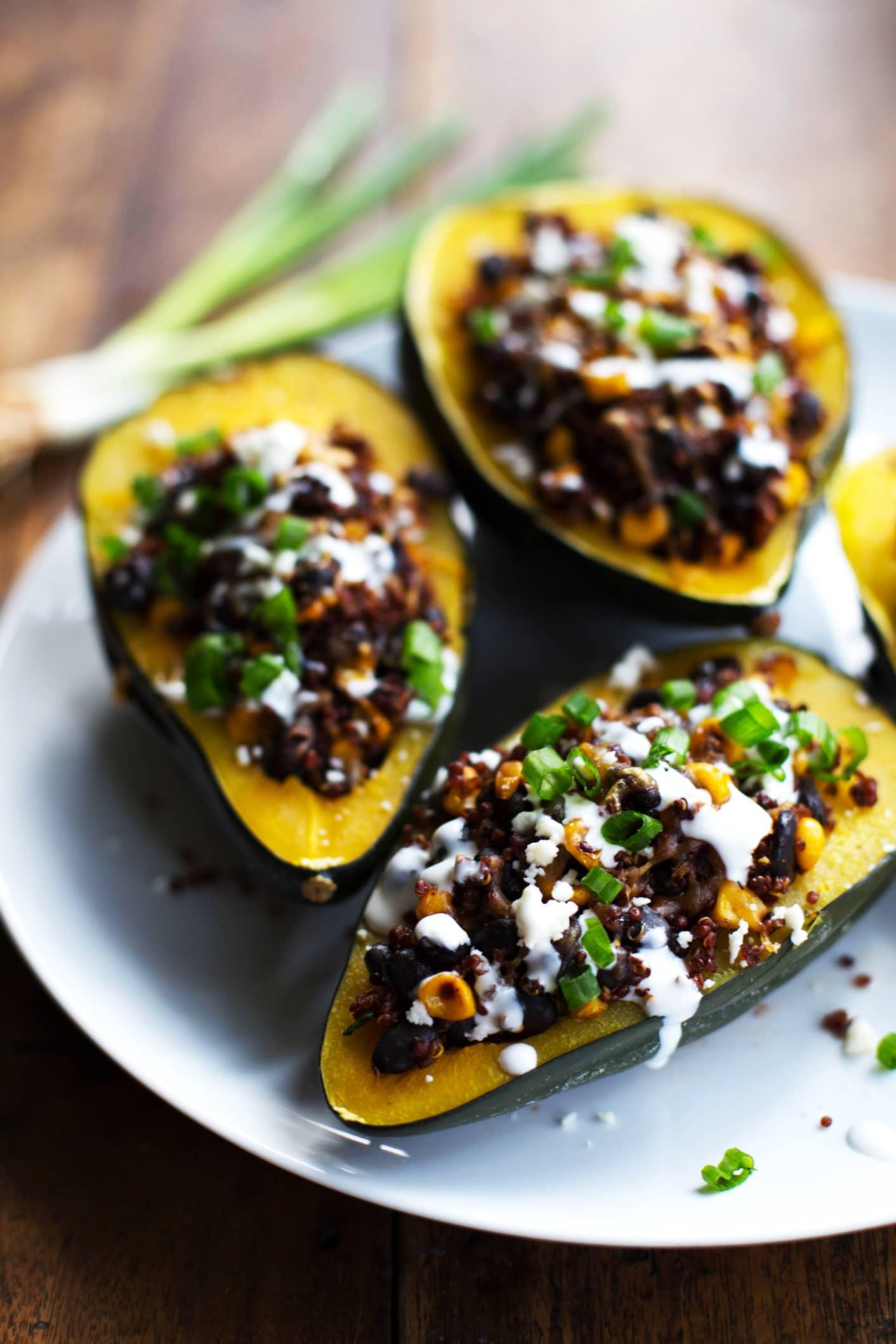 Mexican Squash Recipes  Mexican Roasted Corn and Quinoa Stuffed Squash Recipe